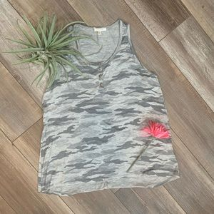 Maurices grey camo tank top w/ button detail